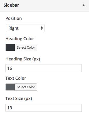 Customize Sidebar